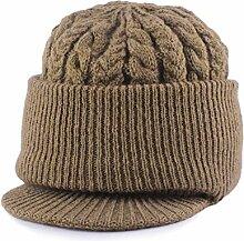 BTBTAV*Hüte Männer älter ältere Cap Cap mit dicken Winterpullover Ohr Männer ältere Vater cap Geschenk stricken , braun