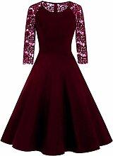 BTCD Frauen Vintage Kleid Damen Spitze Schaukel Kleid Mädchen 3/4 Ärmel Abendkleid,Red-XXL