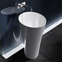 BTH: 40x35x83cm Design Standwaschbecken Colossum33, aus Gussmarmor, Waschtisch, Waschplatz