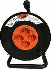 Bticino s2525N Kit Kabeltrommel 3x 1.5, 25m, 4Steckdosen PLURISTANDARD, Schwarz/Orange