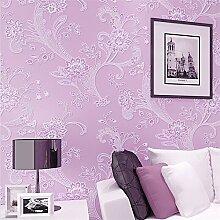 BTJC 3D Vliestapete warme pastoral ausgefallene Tapeten Wohnzimmer Wohnzimmer TV Hintergrundwand , purple