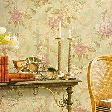 BTJC American ländlichen Tapeten retro Blume Tapete blau grüne Schlafzimmer warme Wand Tapete , 50103 green