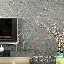 BTJC Chinesische Vliestapete frische Ziegel Linie Maple Leaf Chinese Restaurant Schlafzimmer Wohnzimmer Studie Hintergrundbild , 86112 gray