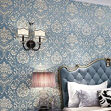 BTJC Geprägte gepolsterte stereoskopische 3D europäischen Vliestapete Schlafzimmer Wohnzimmer TV Hintergrundbild , 9603 sapphire blue
