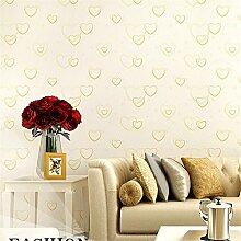 BTJC Herzform Blumen Prinzessin Schlafzimmer Wohnzimmer Tapete Bekleidungsgeschäft setzen Vliestapete , 8001 pale yellow