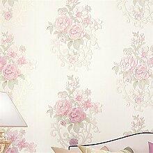 BTJC Romantische Garten Hua Pu Tapeten, Vlies Tapeten Schlafzimmer mit Wohnzimmer Dekoration Tapeten , 901 rose pink flowers