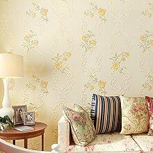 BTJC Süße Garten neue feine Continental romantische pastorale Vliestapete TV Hintergrund Schlafzimmerwand , Yellow