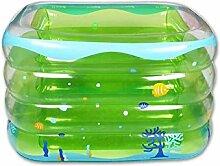 BTJC Verdickte quadratische Baby Baby aufblasbare Schwimmbecken mit vier Ringen für Kinder PVC kreative grün blau Planschbecken , Green