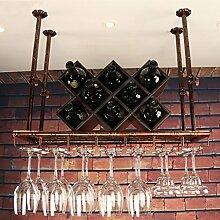 BTJJ Bar Weinglas Halter, Hängende Becherhalter, Inverted Becherhalter, KTV Cup Holder Dekoration ( Farbe : Braun , größe : L100*W35CM )