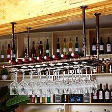 BTJJ Bar Weinglas Rack Hängende Weinglas Bar Hanging Kreative Europäische Weinflasche Stehen Industrielle Wandbehang Weinregal Dekoration (Farbe : Braun, größe : 120*30cm)