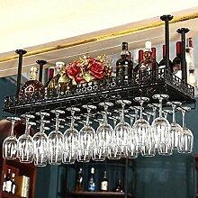 BTJJ Bar Weinregal Hanging Upside Down Weinregal KTV Becherhalter Kreative Weinregal Weinglas Halter ( Farbe : Schwarz , größe : 80*35cm )