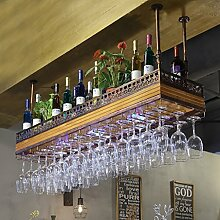 BTJJ European Bar Hanging Glass Holder Massivholz Weinregal Glashalter Plus Large Inverted Weinglas Halter Creative Weinregal ( Farbe : Braun )