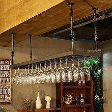 BTJJ Hängende Weinglas Regal Bar Counter Glas Kelch Kopf KTV Weinregal Hängende Weinregal ( Farbe : Schwarz , größe : 60*35cm )
