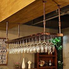 BTJJ Hängende Weinglas Regal Bar Counter Glas Kelch Kopf KTV Weinregal Hängende Weinregal ( Farbe : Braun , größe : 60*35cm )