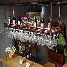 BTJJ Kreative Weinglas Halter Hängende Weinregal Europäischen Stil Bar KTV Becher Hanger ( Farbe : Braun , größe : L100*W35CM )