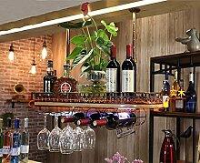 BTJJ Rotwein Rack Skandinavischen Stil Weinregal Hängende Weinregal Dekoration Kreative Massivholz Weinregale Weinglas Racks Fond Cup Top Pendelleuchten ( Farbe : Braun , größe : 80*28cm )