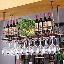 BTJJ Wein Bar Bar Weinglas Rack Hängende Weinglas Bar Hängende Kreative Europäische Weinflasche Stehen Industrielle Wandbehang Weinregal Dekoration ( Farbe : Braun , größe : L120*W25CM )
