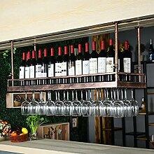 BTJJ Weinglas Halter, Europäischen Retro Hanging Weinregal, Bar KTV Upside Down Kreative Becherhalter ( Farbe : Braun , größe : L80*W35CM )