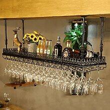 BTJJ Weinglas Rack europäischen Stil Bar Bar Becher Hänger KTV Rotwein Cup Regal ( Farbe : Schwarz , größe : L60*W35CM )
