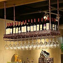 BTJJ Weinregale Retro Industrie Wind Bar Restaurant Hängende Tasse Rack Bar Dekoriert Weinregal Weinglas Rahmen Hängende Becherhalter ( Farbe : Braun , größe : L120*W35CM )