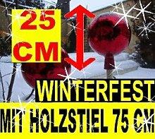 BTV 25 cm gartenkugeln KOMPLETT MIT Holz-STIEL,