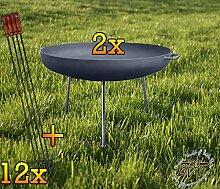 BTV 2X Große Feuerschale XXL ca. 72cm für Grill,