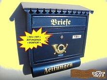 BTV Design Briefkasten F blau dunkelblau metall