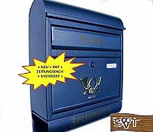 BTV Design Briefkasten R blau dunkelblau Metall