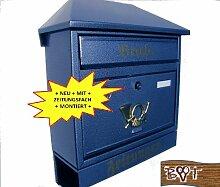BTV Design Briefkasten W blau dunkelblau metall
