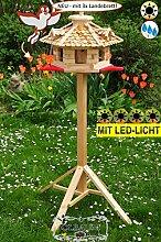 BTV Holz-Vogelhaus-Blockhaus mit Landebahn + LED
