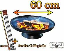 BTV Massive Stahl-Feuerschale mit 4 Grillspieße