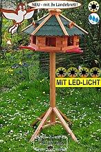 BTV Premium Vogelfutterhaus, Anflugbrett + LED-mit