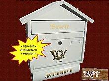 BTV Schöner Design Briefkasten S in glatt weiss