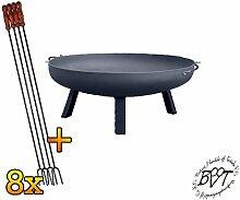 BTV Set Feuerschale mit rechteckigen Füßen, XXXL