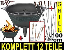 BTV Stabiler Grill Feuerschale + 8 Wursthalter je