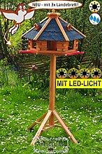 BTV Vogelhaus-Blockhaus mit Landebahn + LED mit