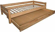 Bubema Duo Bett mit Bettkasten 90x200cm Buche massiv, Farbe natur geölt, inkl. Rollros