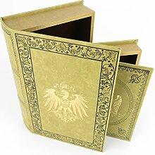Buch (2 Bücher) geheimes skurriles Versteck Antikisierter Buchsafe ADLER REICHSADLER mit Wappen Geschenkidee Kolonialstil