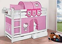 Buche Massivholz Etagenbett JELLE Hello Kitty Rosa - Hochbett LILOKIDS - weiß - mit Vorhang und Lattenroste