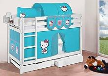 Buche Massivholz Etagenbett JELLE Hello Kitty Türkis - Hochbett LILOKIDS - weiß - mit Vorhang und Lattenroste