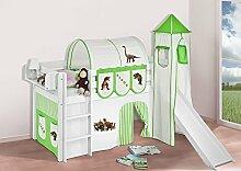 Buche Massivholz Spielbett JELLE Dinos Grün Beige - Hochbett LILOKIDS - weiß - mit Turm, Rutsche und Vorhang