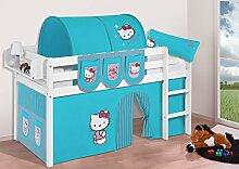 Buche Massivholz Spielbett JELLE Hello Kitty Türkis - Hochbett LILOKIDS - weiß - mit Vorhang