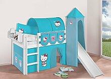 Buche Massivholz Spielbett JELLE Hello Kitty Türkis - Hochbett LILOKIDS - weiß - mit Turm, Rutsche und Vorhang