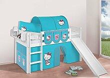Buche Massivholz Spielbett JELLE Hello Kitty Türkis - Hochbett LILOKIDS - weiß - mit Rutsche und Vorhang