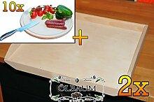 Buchen-Teigbrett ca. 16 mm Dicke natur 2 Stück, mit abgerundeten Kanten, Maße viereckig je ca. 50 cm x 55 cm x 16 mm & 10 mal Picknick Grill-Holzbrett mit Rillung natur, groß, hochwertig, Buche, ca. 16 mm dick, mit abgerundeten Kanten, Maße rund je ca. 30 cm Durchmesser als Bruschetta-Servierbrett, Brotzeitbretter, Steakteller schinkenbrett rustikal, Schinkenteller von BTV, Brotzeitteller Bayern, Wildbrett, Wildbret,