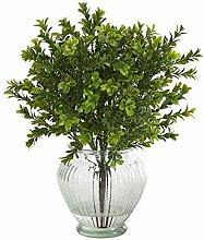 Buchsbaum-Kunstpflanze in Glas-Pflanzgefäß, 35,6