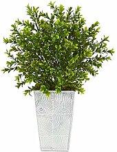 Buchsbaum-Kunstpflanze mit geprägtem Übertopf,