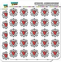 Buchstabe V Initiale Damast rot elegantes schwarz 2,5cm (2,5cm) Scrapbooking, Aufkleber