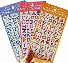 Buchstaben-Aufkleber mit Farbverlauf, 3 Farben,