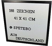 Buchstaben Tafel 41x41 cm schwarz - 188 Zeichen -